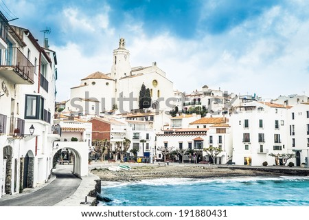 Famous village of Cadaques in stormy day. Costa Brava. - stock photo