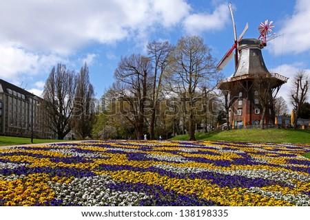 famous Wallanlagen with mill in Bremen, Germany - stock photo