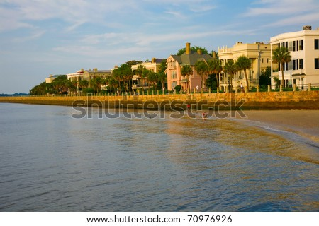 Famous waterfront homes in the battery section of Charleston, South Carolina - stock photo