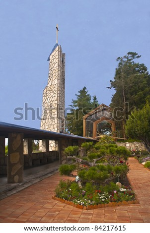 Famous Wayfarers Chapel on the Palos Verdes coast - stock photo
