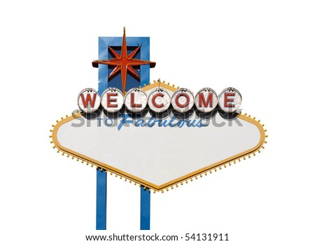 Famous Welcome to Las Vegas sign with text blanked out. - stock photo