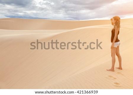 Famous White sand dunes in Mui Ne, Vietnam - stock photo