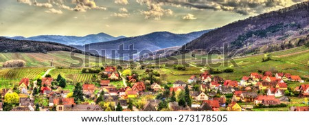 Famous wine route in the Vosges mountains - Alsace, France - stock photo
