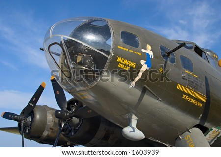 Famous World War 2 B-17 Flying Fortress bomber Memphis Belle against a cloudy blue sky - stock photo