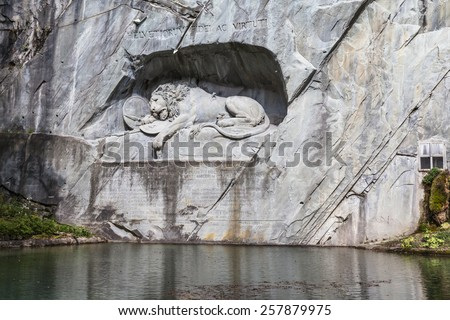 Famouse Lion Monument in City of Lucerne, Switzerland - stock photo