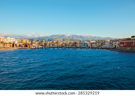famouse venetian habour waterfront of Chania  at sunny day, Crete, Greece - stock photo