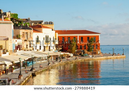 famouse venetian harbour waterfront of Chania old town, Crete, Greece - stock photo