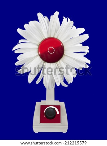 Fan air blower Daisy on blue background. - stock photo