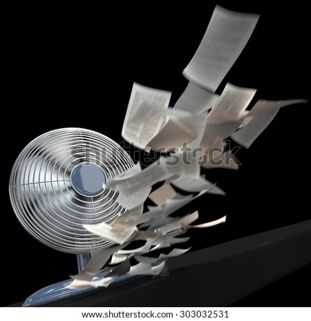 fan and winding paper concept background on isolate black - stock photo