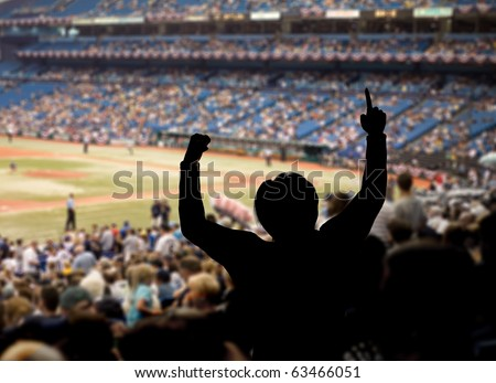 Fan celebrating a team victory at a baseball game.