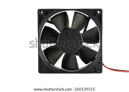 Fan computer on white background. - stock photo