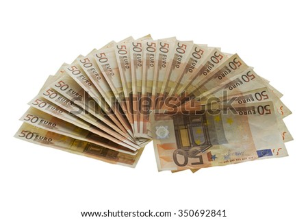 Fan from fifty euros money,  many mass currency isolated  on white background  - stock photo