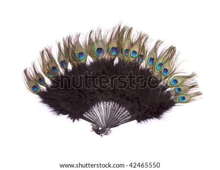 Fan from real peacock feathers on white isolated - stock photo