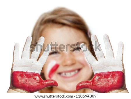 Fan happy girl with painted hands and polish flag - stock photo
