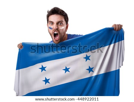 Fan holding the flag of Honduras