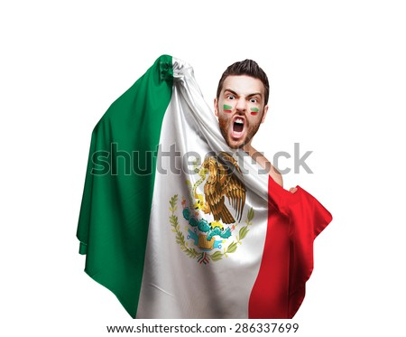 Fan holding the flag of Mexico on white background - stock photo