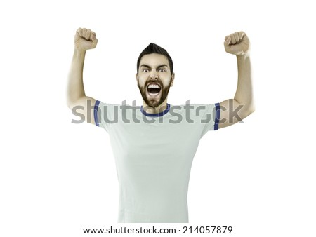Fan in white and blue t-shirt celebrates on white background