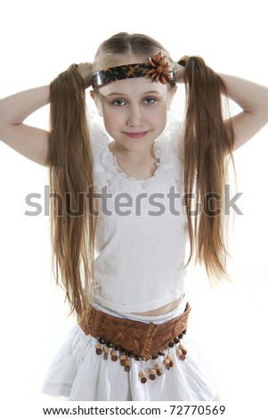 Fan little girl smiling. Isolated white. - stock photo