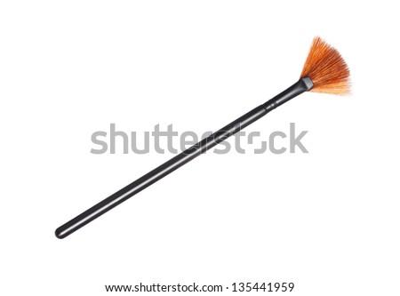 fan make up brush isolated on white background - stock photo