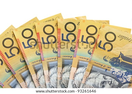 Fan of Australian fifty dollar bank notes on white background - stock photo