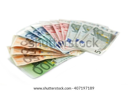 Fan of different euro banknotes, isolated on white - stock photo