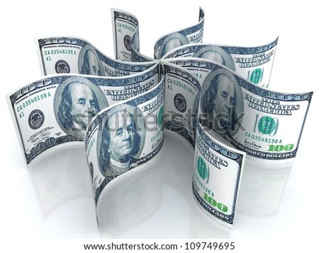 Fan of dollars banknotes on white background