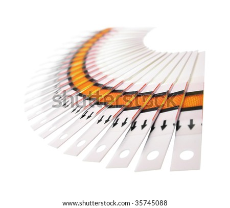 Fan of the test strips on a white background - stock photo