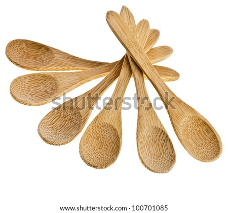 Fan of wooden spoon Isolated on white background - stock photo