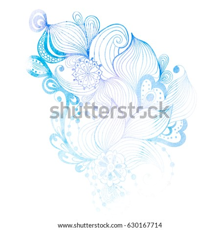 Fancy Abstract Hand Drawn Blue Watercolor Doodle Pattern Isolated On White Background