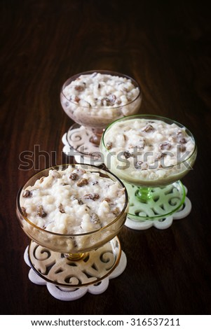 fancy and festive rice pudding - stock photo
