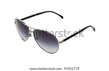 fancy aviator style sunglasses isolated on white