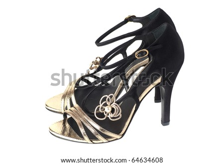fancy blac and gold women sandals