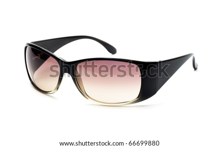 Fancy black and pink sunglasses isolated on white