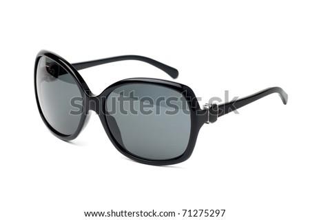 Fancy black  sunglasses isolated on white - stock photo