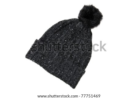 Fancy Black Wool Hat with Sequins and Pompom - stock photo