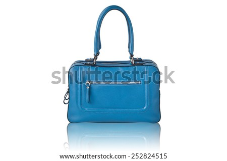 Fancy blue leather handbag isolated on white with reflection