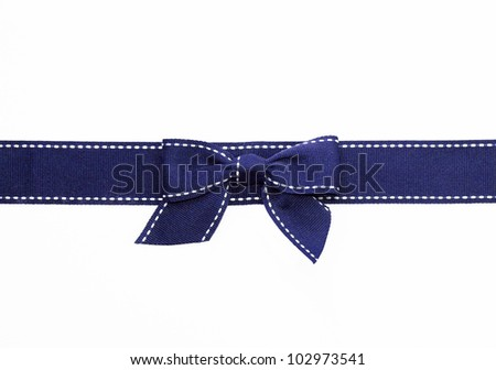 Fancy blue ribbon gift bow with white stitching on white background - stock photo