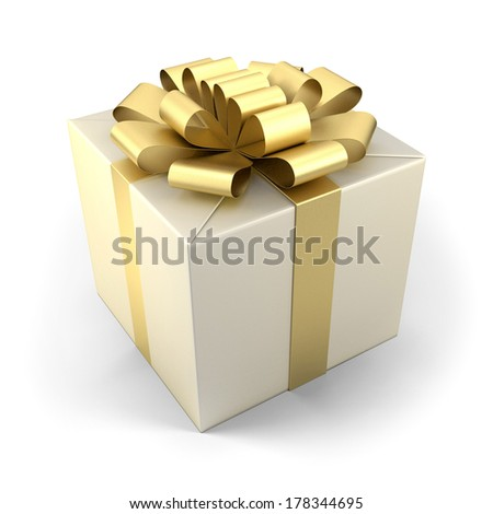 Fancy box with golden ribbon isolated on white background.