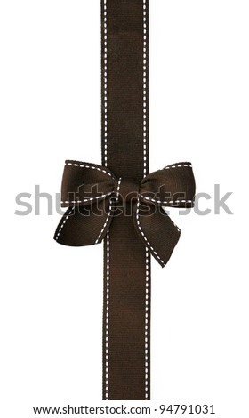 Fancy brown ribbon gift bow with white stitching on white background - stock photo