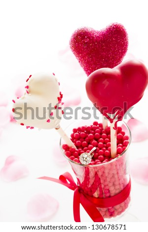 Fancy cake pops decorated for Valentine's day. - stock photo