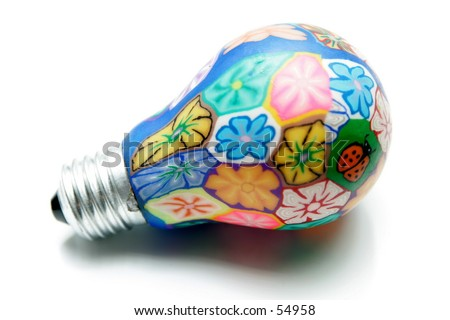 Fancy colored light bulb painted flowers