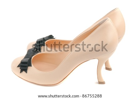 fancy curve heel lbeige women shoes isolated