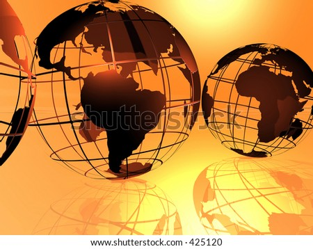 Fancy 3D rendered of world. - stock photo