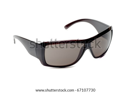 fancy dark brown sunglasses white isolated