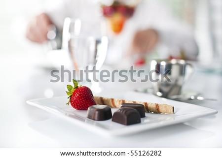 fancy dessert at the restaurant - stock photo