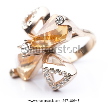 Fancy Diamond Ring in White background