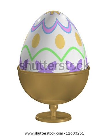 Fancy Easter egg in a gold egg cup. Clipping path. - stock photo