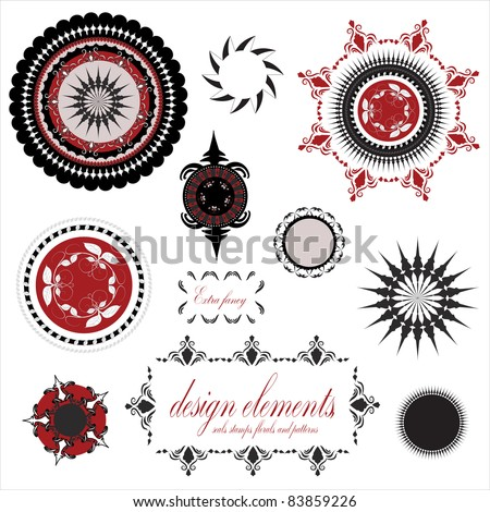 fancy elegant ornamental designs, stamps, seals, circles, floral vine element, compass rose, and star bursts, illustration done in red, black and white isolated on white background - stock photo