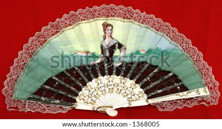 Fancy Fan - hand-painted on cotton fabric - stock photo