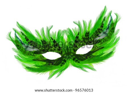 Fancy Festive green / black Feathers dress mask isolated on white background - stock photo